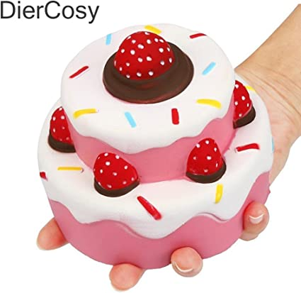 Anboor Squishies Cake Strawberry Colorful Slow Rising Kawaii Squishies Toys Prime for Collection Gift 1Pcs
