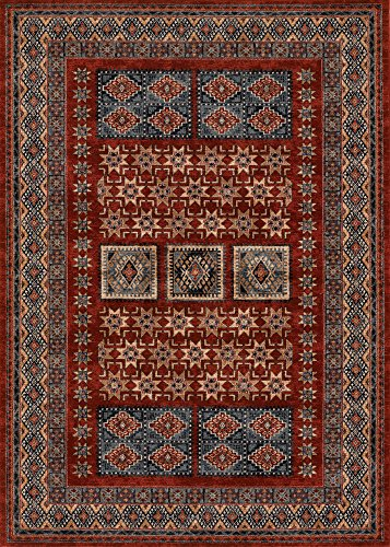 (Couristan 4307/0300 Timeless Treasures Royal Kazak Area Rugs, 9-Feet 10-Inch by 13-Feet 9-Inch, Burgundy)