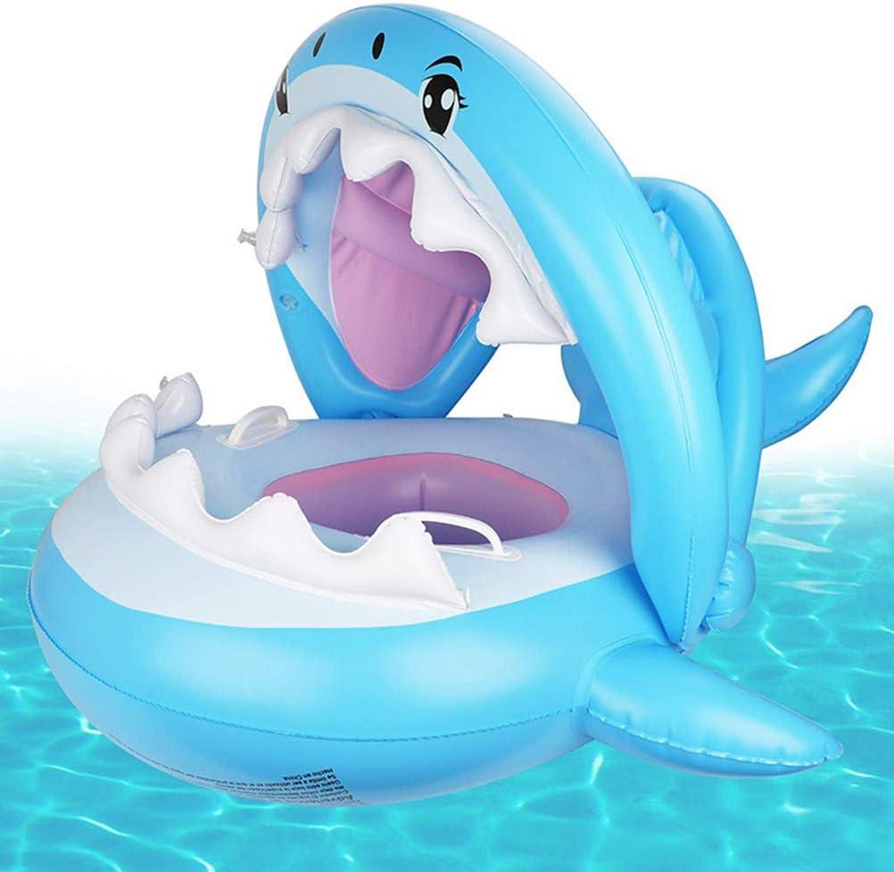 Creacom Baby Pool Float Flotador Inflable para natación con tiburón para bebés con toldo Sombrilla Juguetes para Agua al Aire Libre