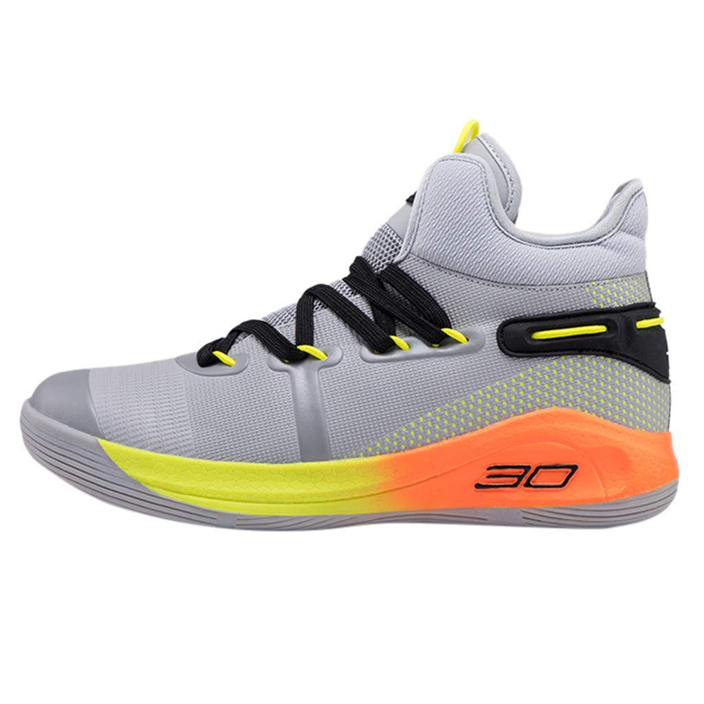 Dermanony Unisex Athletic Shoes Couple Fly Knit Breathable Comfortable Sneakers Fashion High-Top Basketball Shoes Orange by Dermanony _Shoes