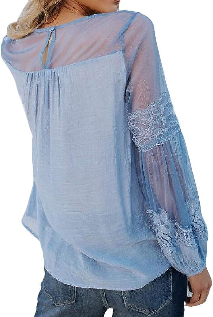 Macondoo Womens Crew Neck Long Sleeve Mesh Pleated Casual Stitch T-Shirt Top