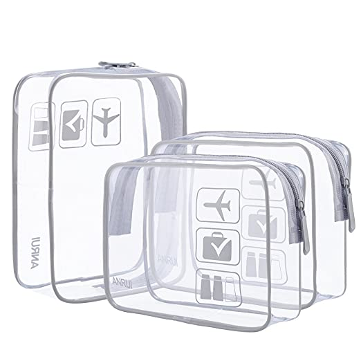 78c03f669d0e ANRUI Clear Toiletry Bag TSA Approved Travel Carry On Airport Airline  Compliant Bag Quart Sized 3-1-1 Kit Travel Luggage Pouch 3 Pack