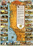 "MAP of California Missions circa 1949 - measures 34"" high x 24"" wide (864mm high x 610mm wide)"