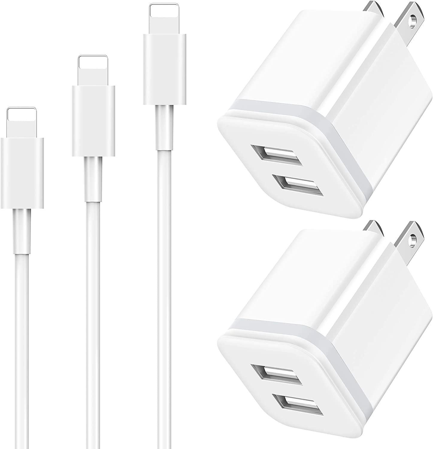 Phone Charger Cable 3ft 6ft 10ft with Wall Plug, LUOATIP 5-Pack Long Charging Cord + Dual Port USB Block Cube Adapter Replacement for iPhone 11 XS/XS Max/XR/X 8/7/6/6S Plus SE/5S/5C, Pad, Pod
