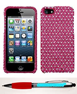 Accessory Factory(TM) Bundle (Phone Case, 2in1 Stylus Point Pen) APPLE iPhone 5s Dots(Hot Pink white) Full Diamond Bling Phone Protector Cover Stylish Design Snap On Hard Case Faceplate Shell