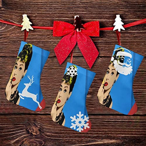 クリスマスの日の靴下 (ソックス3個)クリスマスデコレーションソックス 俳優Audrey Hepburn クリスマス、ハロウィン 家庭用、ショッピングモール用、お祝いの雰囲気を加える 人気を高める、販売、プロモーション、年次式