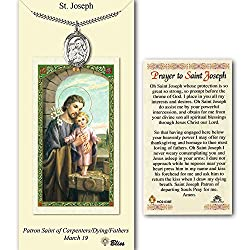 Pewter St. Joseph Medal On An 24 Inch Heavy Curb Chain With A Prayer To St Joseph Prayer Card.