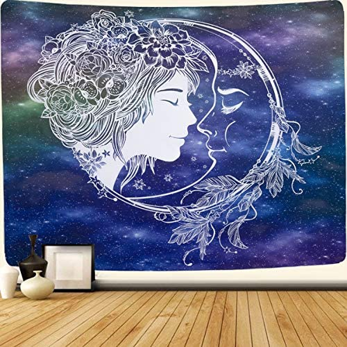 SENYYI Abstract Sun and Moon Tapestry Wall Hanging Stars Tapestry Starry Night Sky Tapestry Hippie Mandala Home Decor for Room 70.9 x 92.5 inches