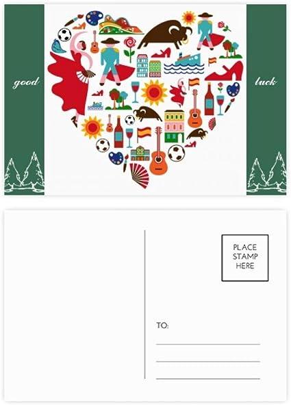 DIYthinker Corrida española del corazón de la bandera de flamenco buena suerte conjunto de tarjeta postal de correo lateral 20Pcs 5,7 pulgadas x 3,8 pulgadas Multicolor: Amazon.es: Oficina y papelería