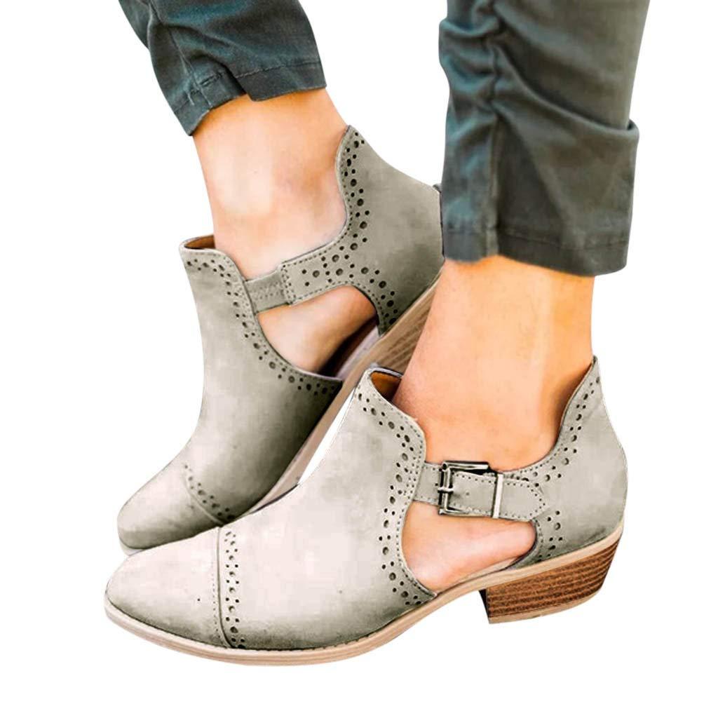 QinMM Botines de tacón Alto Hueco Casual Mujer Mocasines Planos Botas Plataforma Zapatos mocasín cómodo Mujers Mocasin Fiesta Negras Grises Marrones ...