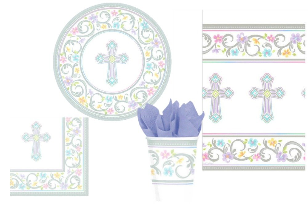 Blessed Day Inspirational Cross Party Supply Pack for 18 Guests: Bundle Includes Dinner Plates, Luncheon Napkins, Cups, and Tablecloth