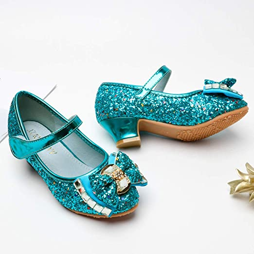 Teen Girls Wedding Party Dress Pump Shoes 4-10 Years Old Kids Pearl Crystal Bling Bowknot Princess Shoes