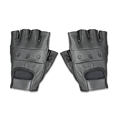Raider BCS-500-M Black Leather Fingerless Men's Motorcycle Premium Driving Gloves, Medium: Automotive