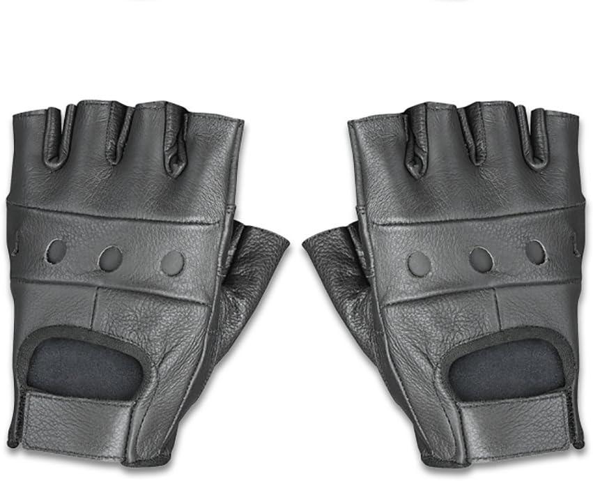 Raider Leather Fingerless Mens Motorcycle Premium Driving Gloves Black, X-Large