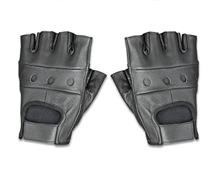 e68f8b36f94c1f Amazon.com: Raider Leather Fingerless Men's Motorcycle Premium ...