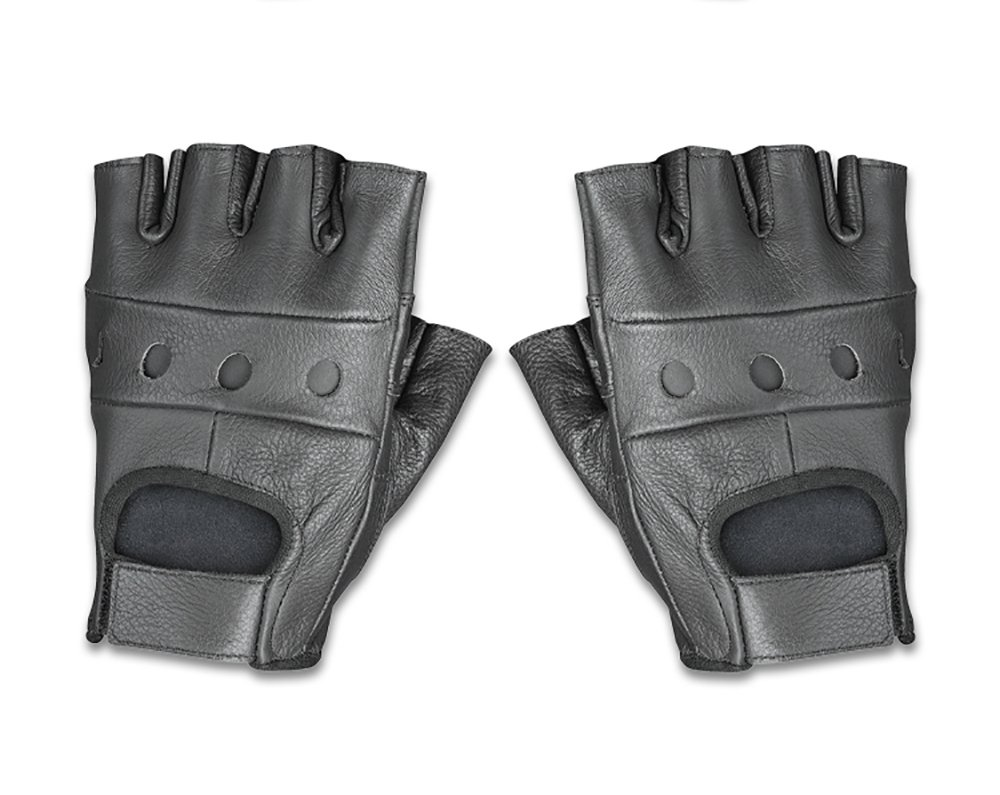 Raider Leather Fingerless Men's Motorcycle Premium Driving Gloves (Black, Medium)