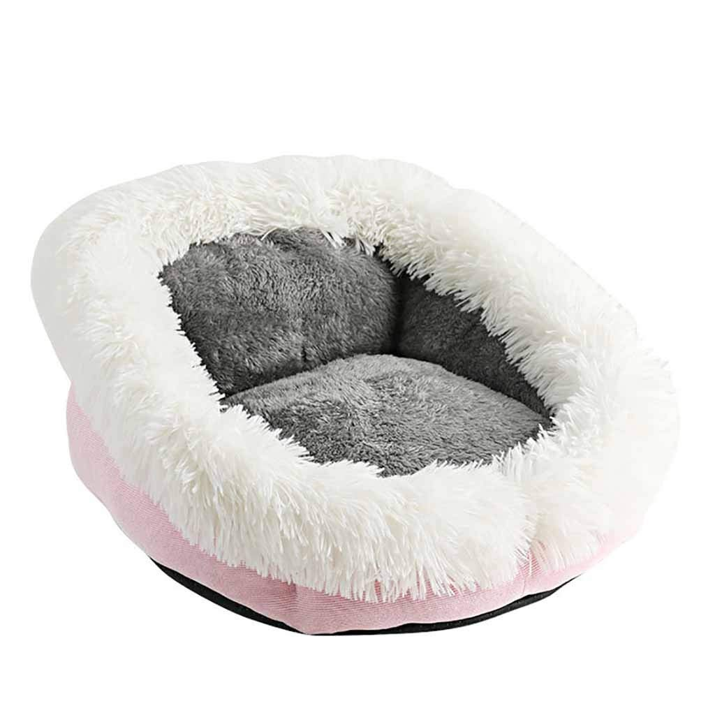 NLGToy Dog Round Cat Winter Warm Sleeping Bag Long Plush Soft Pet Bed Calming Bed,for Cats or Small Dogs, Mini Medium Sized Dog Cat Bed Self Warming Autumn Winter Indoor (Pink) by NLGToy