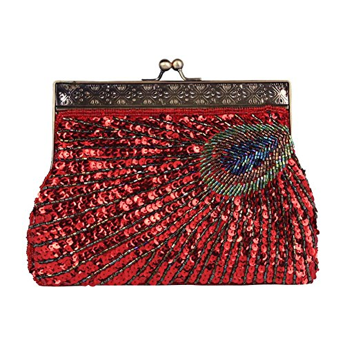 1920s Party Vintage Bag Wedding Handbag Red Beaded Clutch Evening BAOBAO Sequins Peacock O66q40
