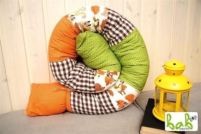 Handmade Baby Bettrolle 200cm, Nestchenschlange In Orange, Grün, Braun Mit  Igeln, Lagerungskissen