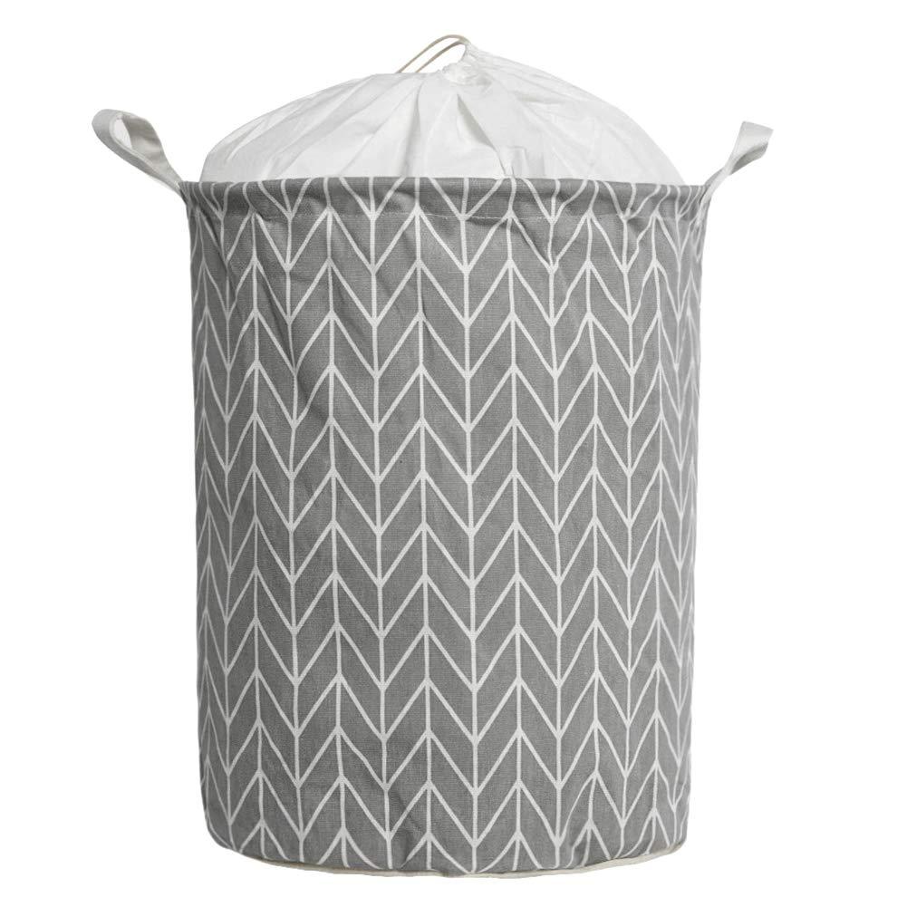 Large Size Laundry Hamper Storage Basket with Waterproof of Coating Canvas Fabric Kids Storage Bins (Gray) LITTLEGOOD