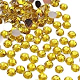 SODIAL(R) 1000pcs 4mm 14 Cut Flat Back Rhinestone Round Brilliant Loose Beads - Yellow