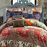 100% Cotton Brushed Fabric Soft 4 Pcs Bedding Set,Boho Bohemian Warm Winter 1Duvet Cover 1 Falt Sheet 2 Pillowcases,No Comforter, (Queen, Color 4)