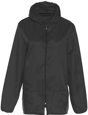 New Lightweight Unisex Shower-proof Kagoul Rain Coat Jacket Mac Kagool  Cagoule Hooded Rain Jacket Chice Of 9 Colours S-XXL (XXL, Black)  Amazon.co. uk  ... a015e7ac9e