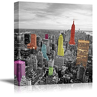 Black and White Photograph of The City with Pops of Color on The Buildings of New York - Canvas Art Home Art - 24x24 inches