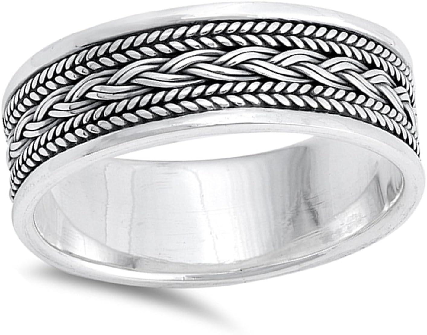 St garnet wide bands Patrick/'s day shamrock men/'s women/'s  jewelry Celtic pigtaile ornament pattern Celtic knot braid silver Ring