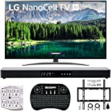 LG 65' 65SM8600 4K HDR Smart LED NanoCell TV w/AI ThinQ 2019 Model (LG65SM8600PUA 65SM8600PUA 65SM8600P) with Home Theater 31' Soundbar, Wireless Backlit Keyboard, Flat Wall Mount Kit & SurgePro 6
