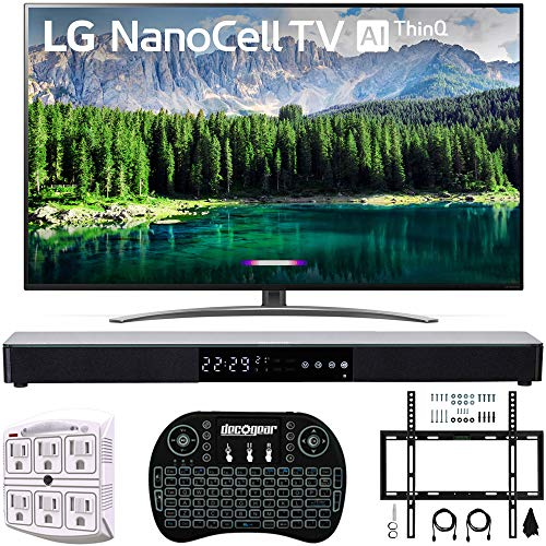 "LG 75SM8670PUA 75"" 4K HDR Smart LED IPS TV w/AI ThinQ 2019 Model with Home Theater 31"" Soundbar, Wireless Backlit Keyboard, Flat Wall Mount Kit & SurgePro 6-Outlet Surge Adapter"