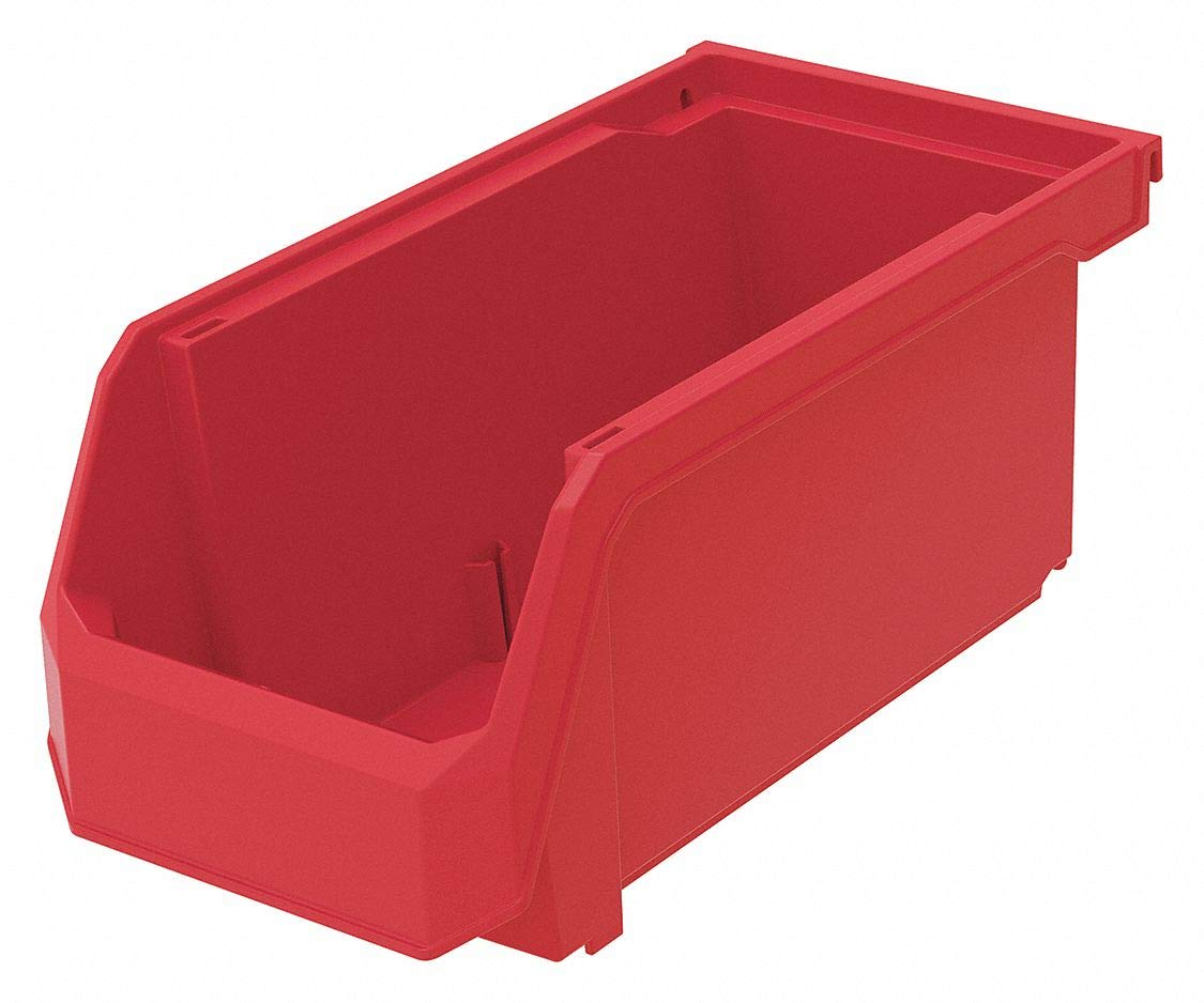 Hang and Stack Bin, Red, 11'' Outside Length, 5-1/2'' Outside Width, 5'' Outside Height pack of 5