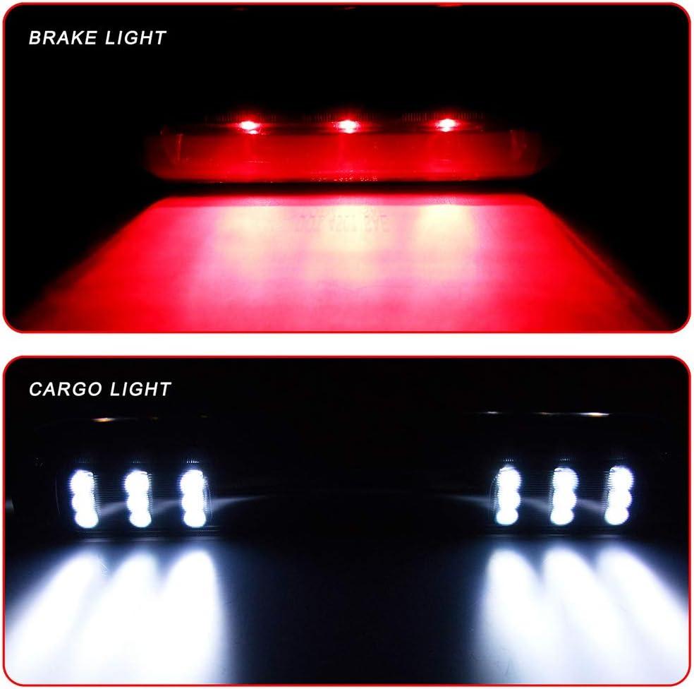 Third Brake Light Black Housing+Smoke Lens LED Car Rear Waterproof 3rd Brake Cargo Light Fit for 1999-2006 Chevy Silverado GMC Sierra High Mount Brake Stop Light