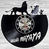 Hakuna Matata Art Vinyl Wall Clock Gift Room Modern Home Record Vintage Decoration Review