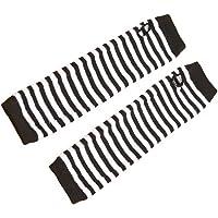 PIXNOR Vintervärmare långa handskar zebra randig armvärmare fingerlösa stickade handskar