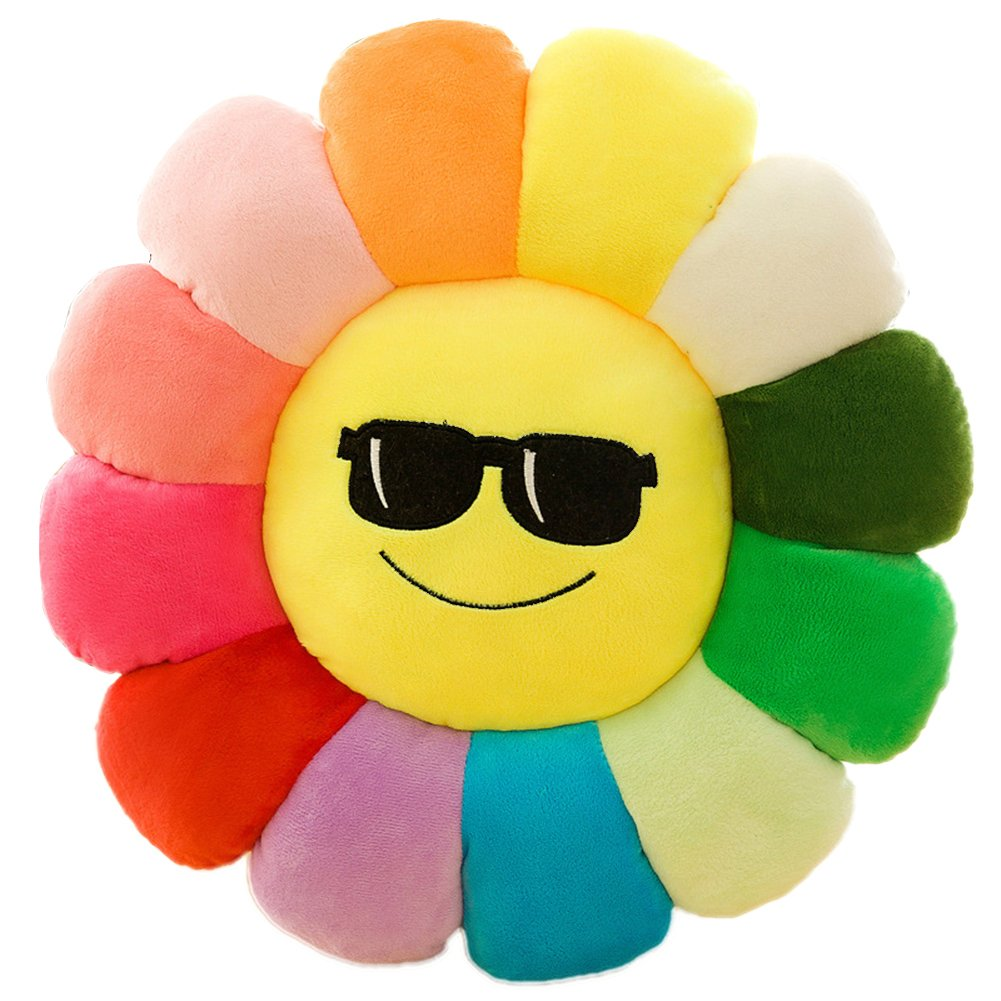 Superi Flower Floor Pillow Soft Plush Rainbow Emoji Emoticon Seating Cushion for Kids Tears 24