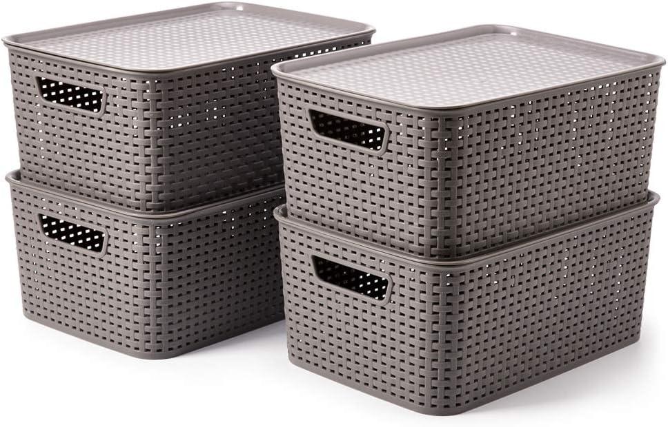 EZOWare 4 pcs Cestas de Almacenaje Multiuso con Tapas, Cajas Organizadoras de Plástico Apilable con Efecto de Mimbre y Asas para Cocina, Baño - Gris / 39 x 27 x 17 cm: Amazon.es: Hogar