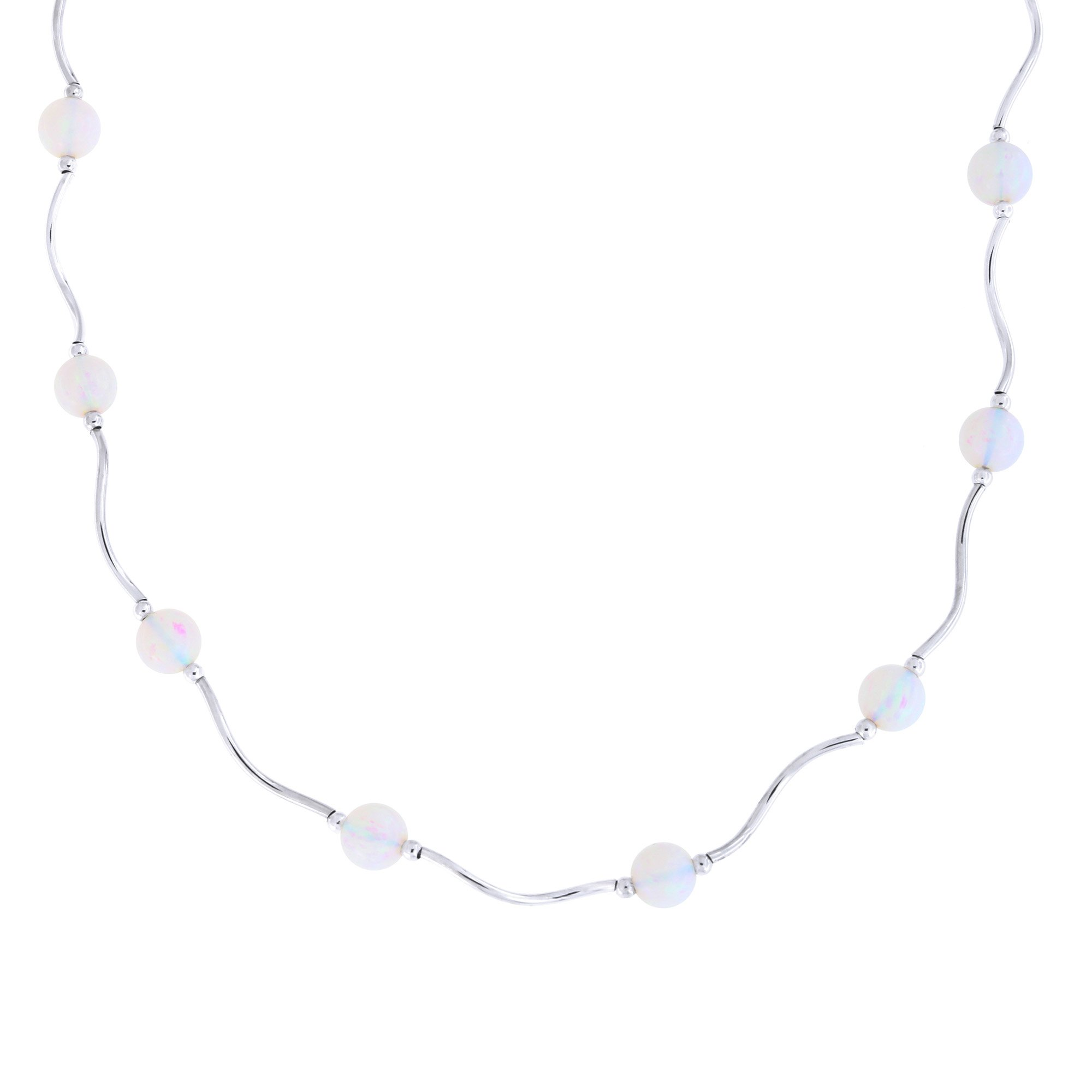 Sterling Silver Rhodium Plated 6mm Simulated White Opal Station Necklace, 17.5 inches