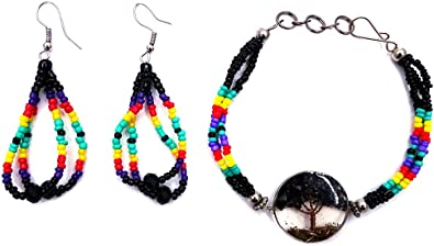 Black Native American Beaded Hoops Jewelry Set