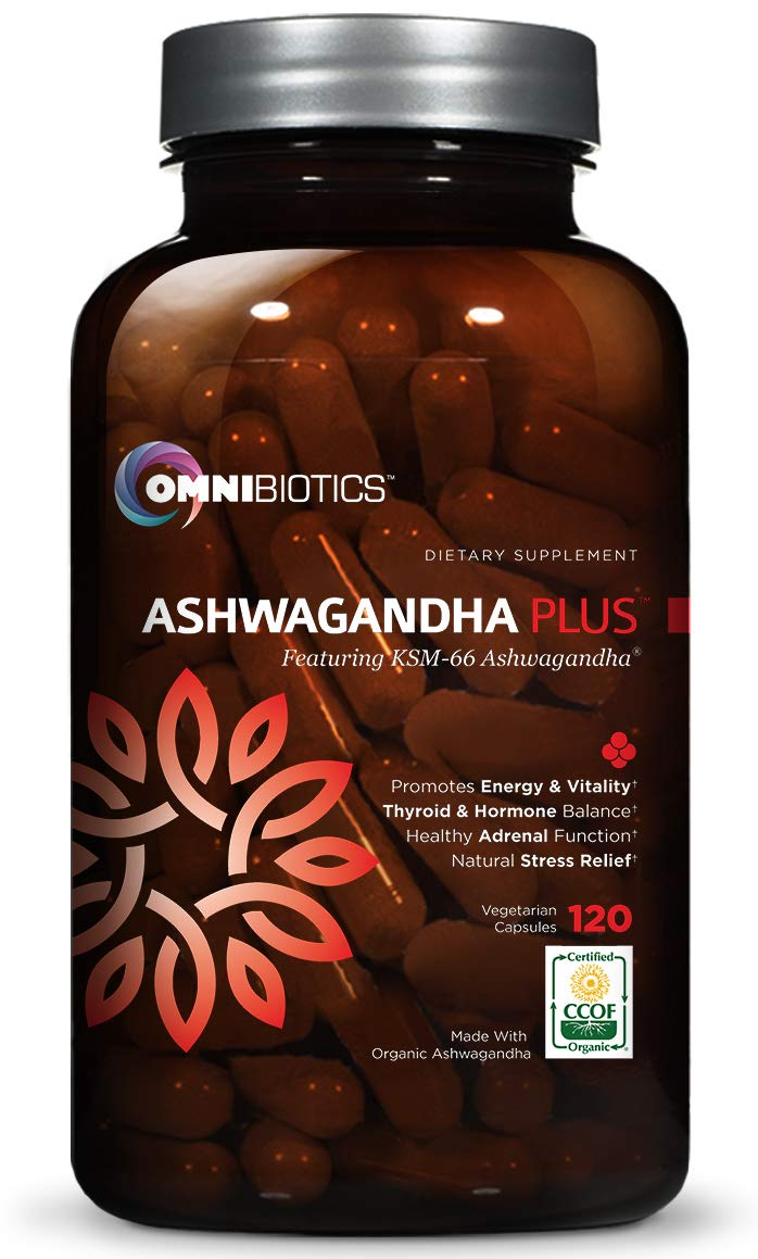 Ashwagandha 1300mg - Certified Organic with KSM-66 Root Powder Extract - Natural Supplement for Stress Relief, Anti-Anxiety & Fatigue - Mood Enhancer - Thyroid Support - 120 Vegan Capsules