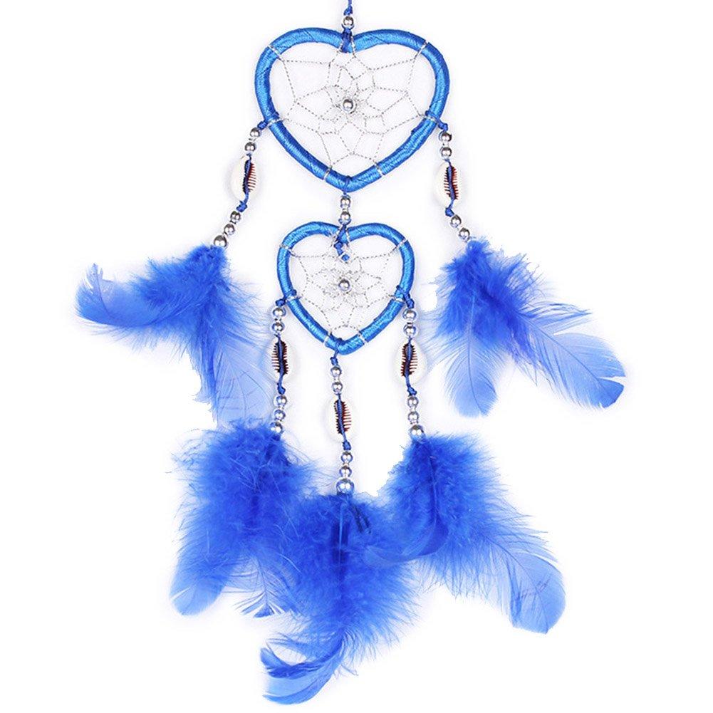H.W.T Kleine Handgefertigte Traumfänger Traditionelle Dreamcatcher Herz Form Design Style Feder Auto/Wand Hängende Dekoration Ornament Königsblau