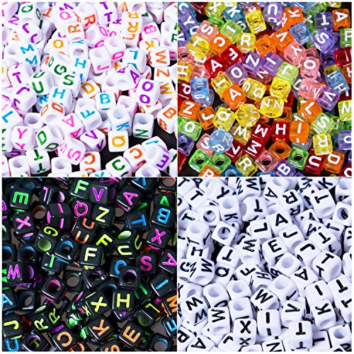 Korlon 800 Pieces Acrylic Alphabet Letter Beads, 4 Color Acrylic Alphabet Letter Kandi Beads for Jewellery Making, Bracelets, Necklace, Key Chains and Kids Jewelry