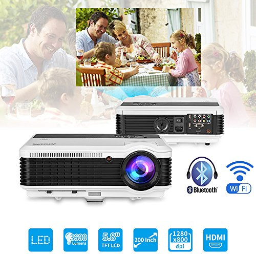 Android Bluetooth LCD Projector WXGA HD 1080p Support 3600 Lumen Wifi Smart LED Home Theatre Projector Airplay Miracast Wireless for iPhone Smartphone, Multimedia HDMI USB Audio for Outdoor (Large Format Lcd Monitors)