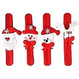 Gemini_mall® 4pcs Christmas Wristband Bracelet Slap Wrist Bands Xmas Party Favors Bag Fillers Gifts for Kids (4pcs (Santa Claus,Snowman,Reindeer,Bear))
