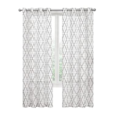 GoodGram 2 Pack: Kendall Luxurious Trellis Crushed Grommet Sheer Voile Curtains by Assorted Colors (Neutral)