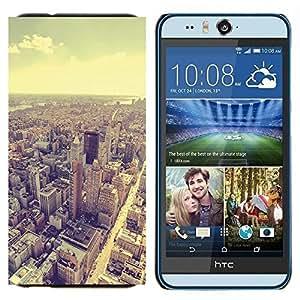 TECHCASE---Cubierta de la caja de protección para la piel dura ** HTC Desire Eye ( M910x ) ** --horizonte de viñeta de la arquitectura de la sepia de la ciudad