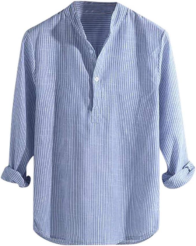 CLOOM Camicia Uomo Estive, Maniche Lunghe Uomo Estate Casual Top, Camicia T Shirt Uomo Sportivi Vintage Cotone Stretch, Cotone e Lino Manica Lunga
