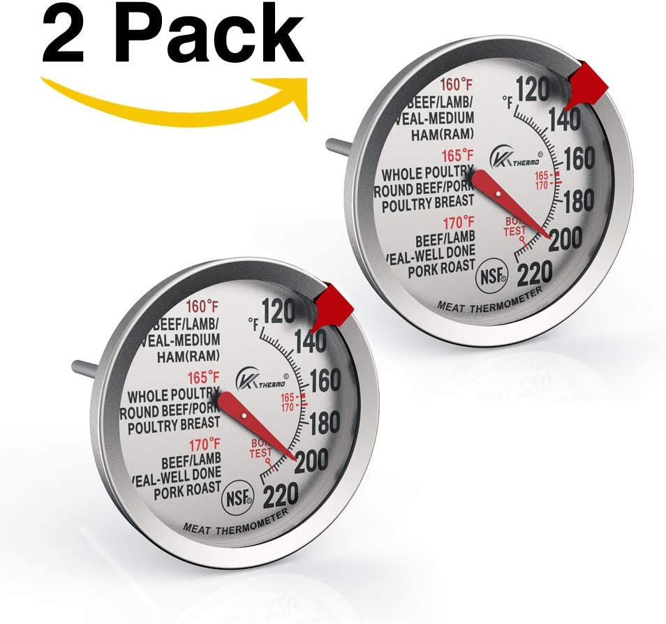 2 Pack KT THERMO Meat Thermometer 2.5-Inch Dial Stainless Steel Waterproof and Oven Safe BBQ Poultry Probe Cooking Thermometers (2)