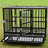 Heavy Duty Pet Dog Cage Strong Metal Crate Kennel Playpen w/Wheels&Tray (48'')