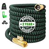 75ft Expandable Garden Hose Expanding Water Hose with 100% Solid Brass Valve, Flexible Outdoor Hose can 3x Expandable, 75'' Lightweight Gardening Yard Hoses No Kink Cloth Car Wash Hose (2019 Newest)